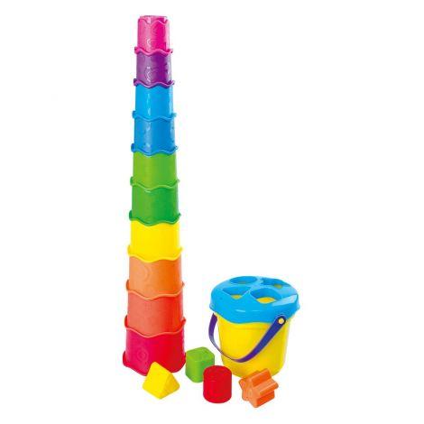 Playgo Vedro/razvrščevalnik oblik z mavričnimi lončki