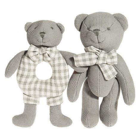 Smiki baby plišasti medvedek - set dveh, siv 6401009