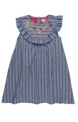 Črtasta oblekica z volančki