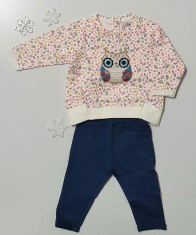 Komplet majčke in hlačk, motiv sovice