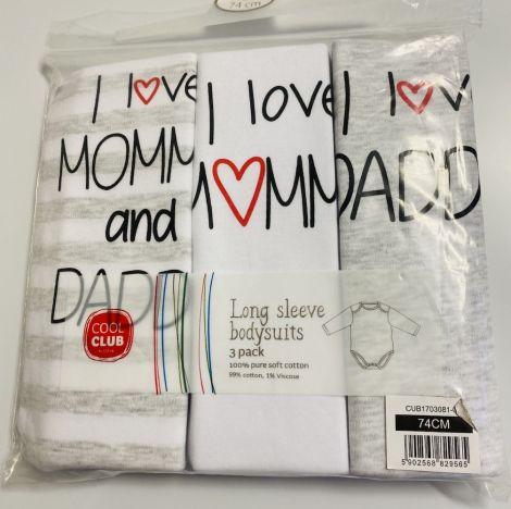 """Bodi dolgi rokav """"I love mommy-daddy"""" 3kos"""