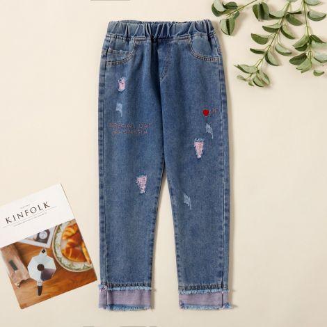 Dekliške jeans hlače z vezenimi detajli