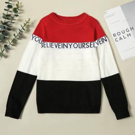 Pleten pulover z napisom